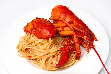 lobster spaghetti with tomato sauce Stock Photo - 8979755