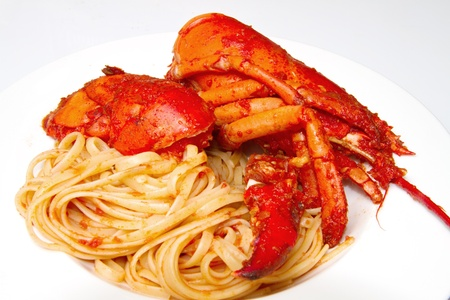 lobster spaghetti with tomato sauce  Stock Photo - 8979762