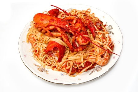 lobster spaghetti with tomato sauce  Stock Photo - 8971560
