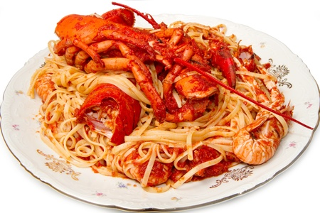 lobster spaghetti with tomato sauce  photo