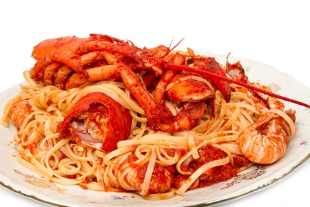 lobster spaghetti with tomato sauce Stock Photo - 8979776