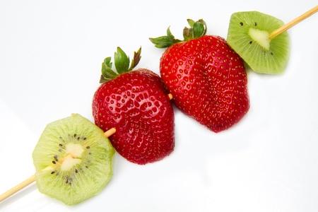 shashlik: fruit kebab Stock Photo