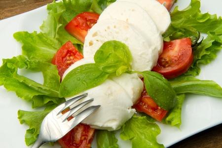the fresh mozzarella with tomato and basil  Stock Photo - 9116655