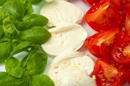 Italian flag made wit Tomato Mozzarella and Basil  photo
