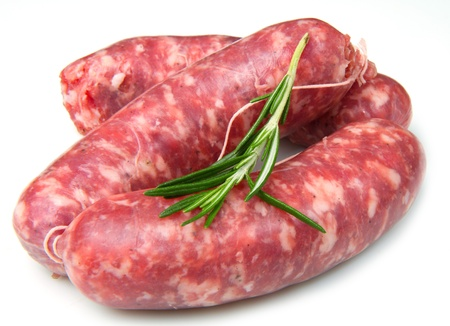 a fresh sausage isolated on white background photo