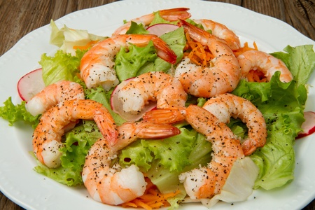 salad of shrimp, mixed greens photo