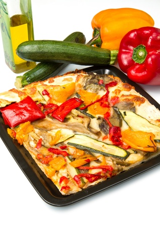 slice of pizza with fresh vegetables photo