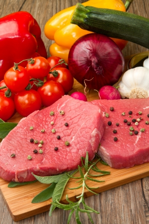 red meat with fresh vegetables Stock Photo - 9347775