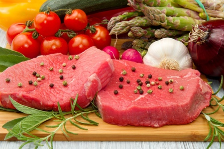 red meat with fresh vegetables Stock Photo - 9347779