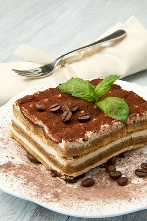 dessert fork: Tiramisu, classical dessert from Italian tradition