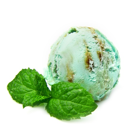 Delicious mint ice cream ball on white background photo