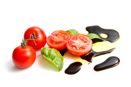 balsamic: Fresh tomato and basil over olive oil and balsamic vinegar