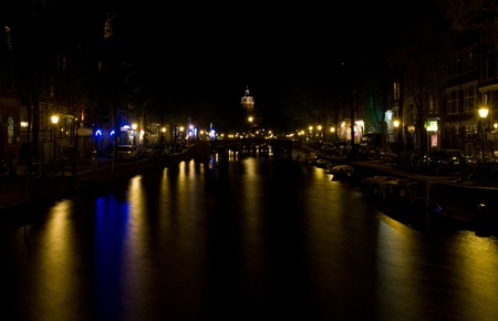 Amsterdam canals by night  Stock Photo - 9508741