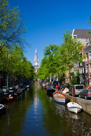 Amsterdam canals and typical houses  Stock Photo