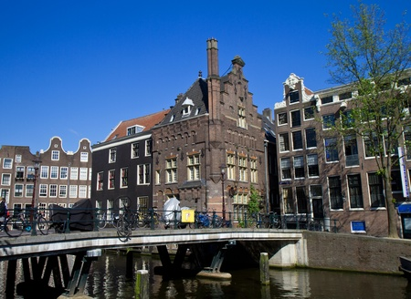 sabbatical: Amsterdam canals and typical houses  Stock Photo