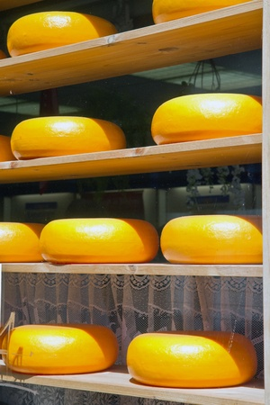 famous industries: Cheese rack in refining in Gouda  Stock Photo