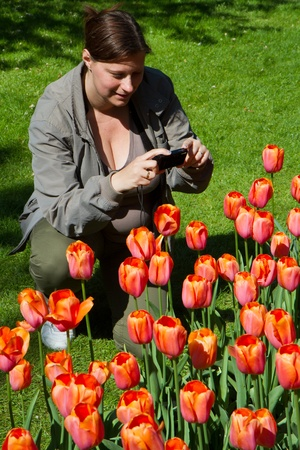 woman photographer in a field of tulips photo
