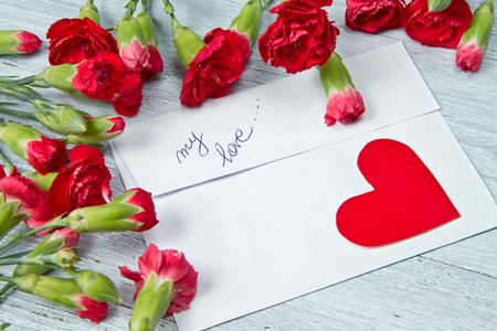 Spring letter and red carnation Stock Photo