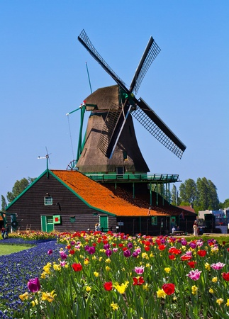 Photo of windmill in Holland with blue sky