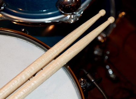 bass drum: Close up of drum kit with cymbal and drumsticks