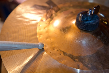 Close up of drum kit with cymbal and drumsticks  Stock Photo - 9656519