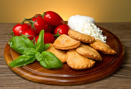 italian panzerotti with ingredients photo