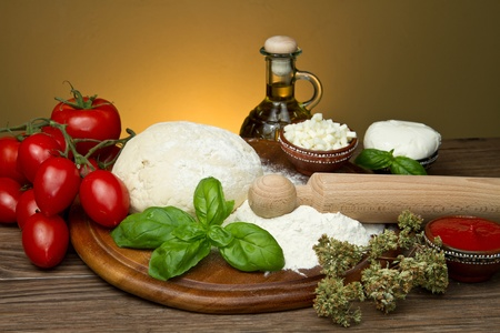 italian bread: ingredients for homemade pizza