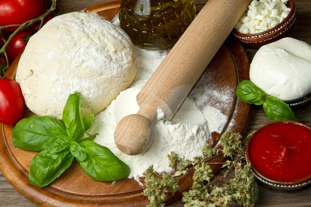 ingredients: ingredients for homemade pizza