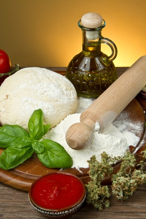 ingredients for homemade pizza  photo