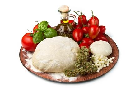 ingrediënten voor zelfgemaakte pizza
