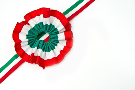 cockade  with italian flag color  Stock Photo