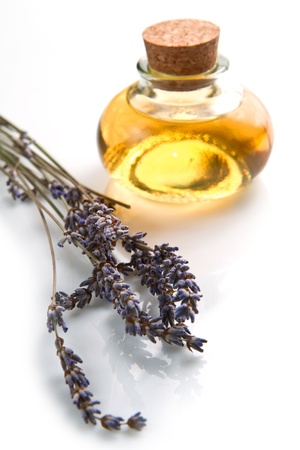 lavander: lavander oil with flower on white background Stock Photo