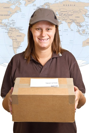 smiling delivery woman holding a big parcel isolated on white  photo