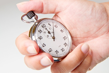 silver chronometer isolated on white background photo