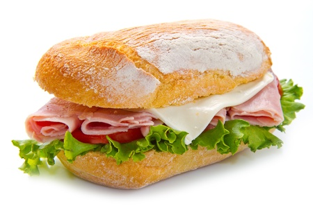 multi grain sandwich: sandwiches with ham and vegetables on white background