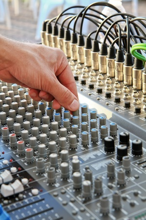 a mixer duing a concert Stock Photo