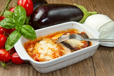 parmigiana eggplant with fresh ingredient