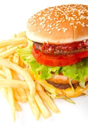 hamburger with potatoes isolated on white background photo