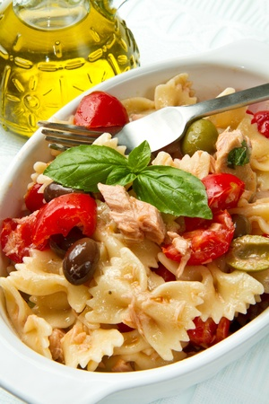 pasta salad with tomatoes,tuna and olives photo