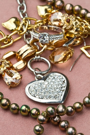 jeweled: Mixed yellow and white  gold jewelry