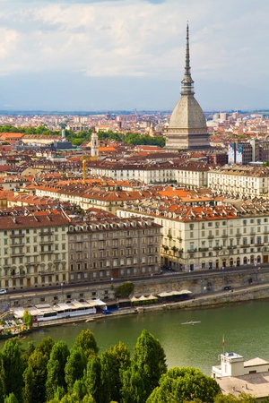 birdeye: City of Turin and Mole Antonelliana  skyline panorama seen from the hil Stock Photo