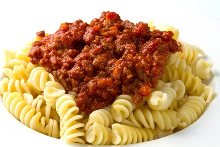 bolognese: pasta with bolognese sauce with tomatoes and meat Stock Photo