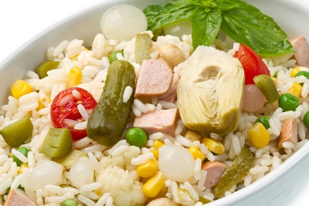 chinese herbs: rice salad with tomatoes and pickles Stock Photo