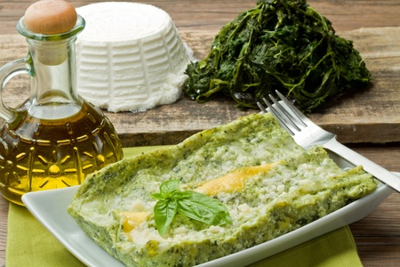 ricotta cheese: fresh lasagna with ricotta and spinach Stock Photo