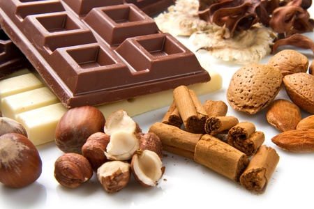 praline: different kind of chocolate with ingredients Stock Photo