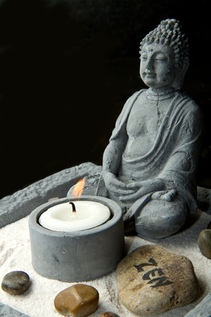 buddha tranquil: Portrait of a Buddha statue Stock Photo