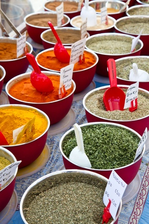 small boxes with different spices in market  Stock Photo - 10304094
