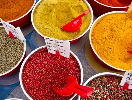 cinammon: colored spices in market