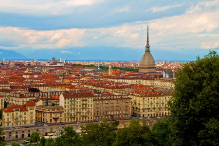 birdeye: a view of Turin with a famous Mole Anttonelliana Stock Photo