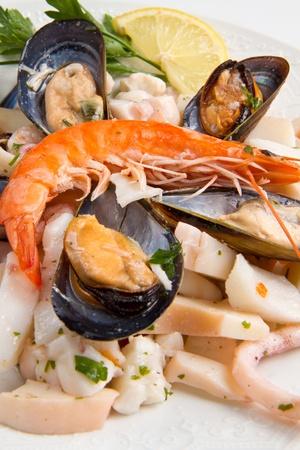 seafood salad on white background Stock Photo - 10400108